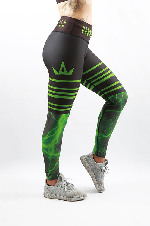 Green Lightning Fitness Leggings