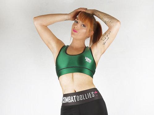 Green High Shine Sports Bra