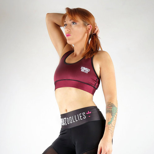 Burgundy High Shine Sports Bra