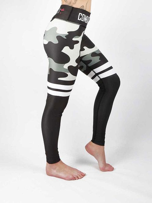 Khaki Grey Camo Stripe Fitness Leggings