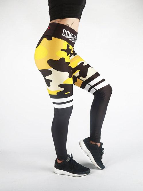 Yellow Camo Stripe Fitness Leggings