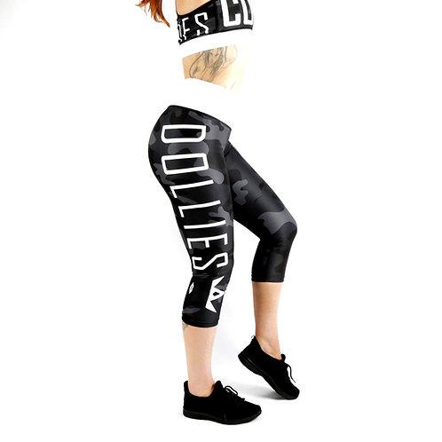 Black Camo Capri Fitness Leggings
