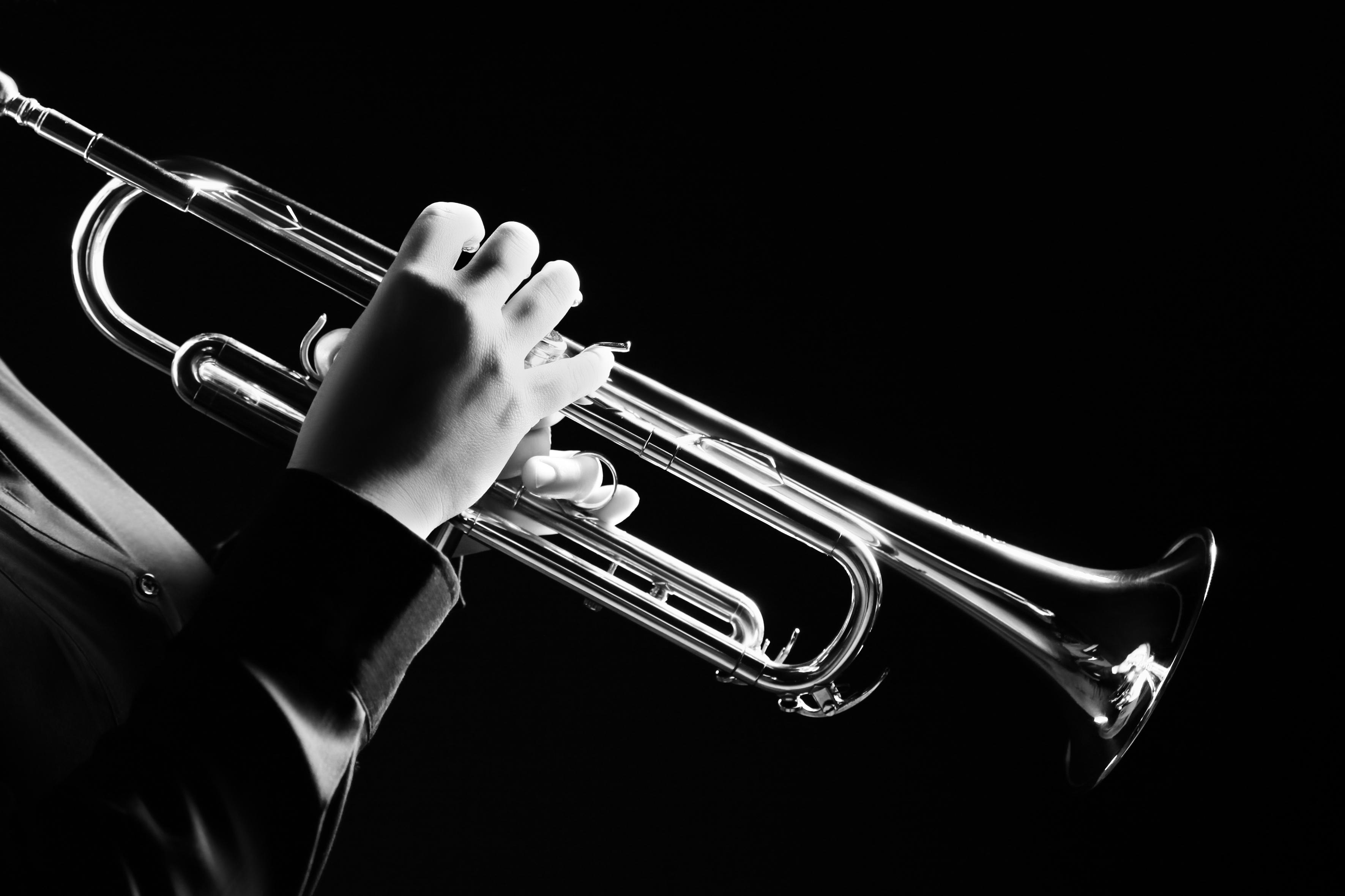Trumpet player.jpg Trumpeter playing music jazz instrument.jpg Brass orchestra instrument