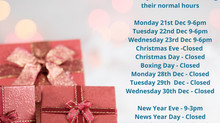 2020 Christmas Opening Times
