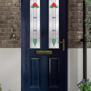 Joyce Door in Steel Blue with Lambay Glass