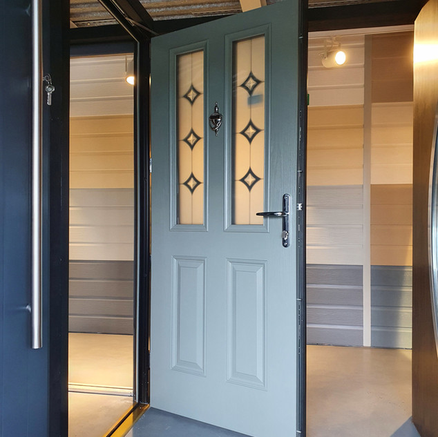 Joyce Door in Concrete Grey with Annagh Glass