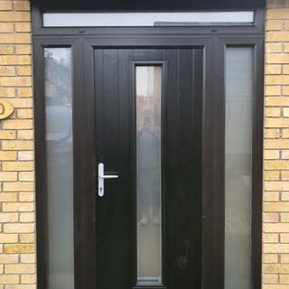 Behan Door in Black with Satin Glass