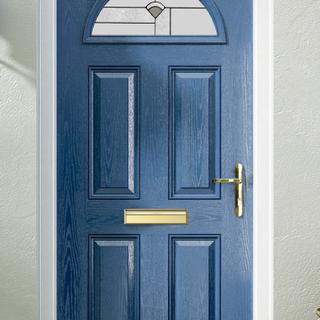 Hennessy Door in Steel Blue with Aran Glass