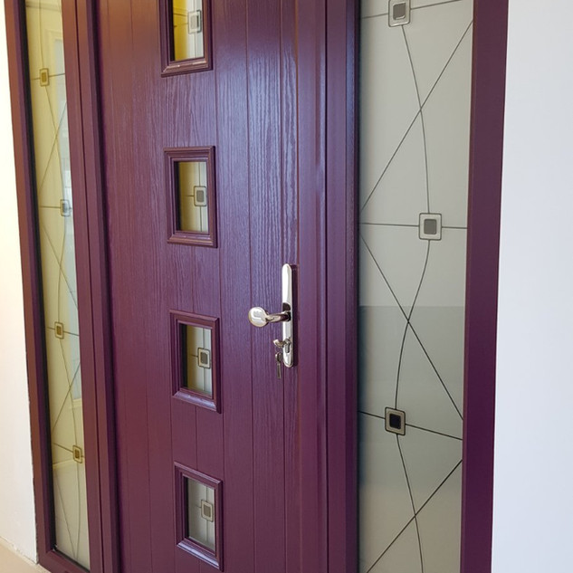 O'Faolain Door in Purple Violet with Bere Glass