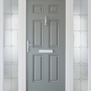 Gregory Door in Concrete Grey with White Frame and Fenit Sidelights