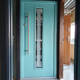 Behan Door in Pastel Turquoise with Satin Clear Border Glass