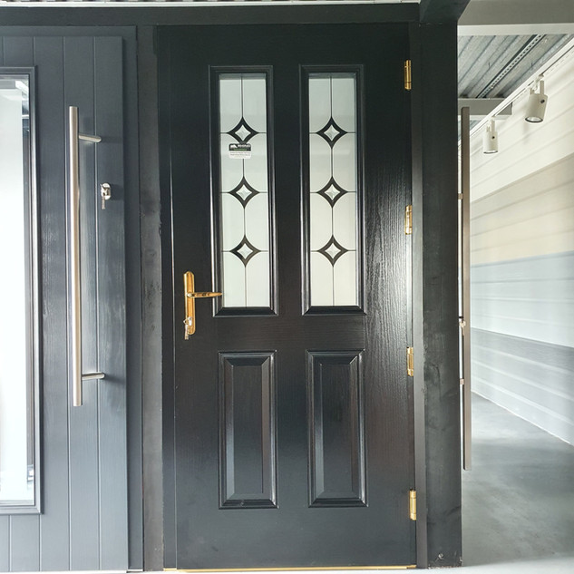 Joyce Door in Jet Black with Annagh Glass