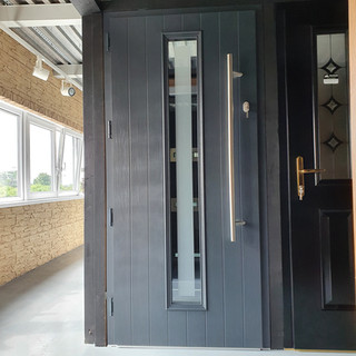 Behan Door in Anthracite with Satin Clear Border Glass
