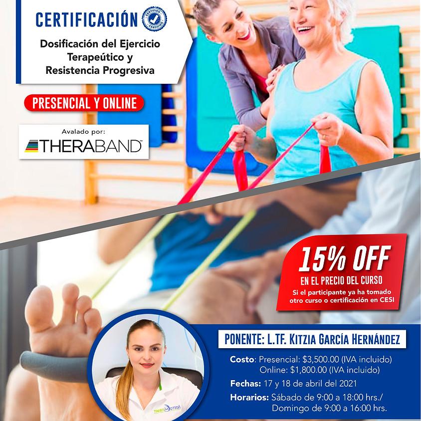Certificación Dosificación del ejercicio terapéutico y resistencia progresiva.