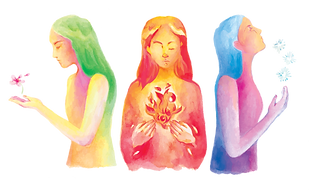 A water colour image of three women in the image.  From left to right, the first woman, facing to the left, looking down has green hair and her face is highlighted with pink which blends into a warm yellow to colour the rest of her body. A small pink flower with a green stem and a petal floating beside it hover over her outstretched hand. She is also looking down. The second woman, facing forward has orange highlights on the top of her head which blend into a deep red, deeper oranges and bright yellows. Her hands, also various shades of red are holding a red flickering flame. The third woman, facing to the right, looks up. Her hair is a cool pale blue. Her face is highlighted with a soft orange which blends into a soft pink and into deeper fuchsia pink and purple. There are three blue stars hovering above her outstretched hand.
