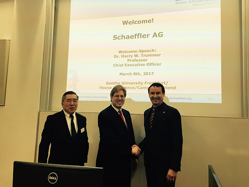 Dr. Trummer gives Welcome Leadership Speech for Schaeffler AG at House of Finance, March 8th, 2017