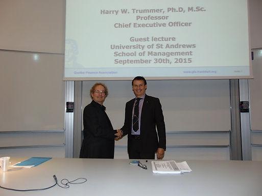 Dr. Trummer gives lecture at University of St Andrews, United Kingdom/Scotland, September 30, 2015