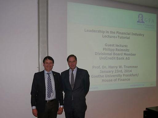 Guest lecture series mit Philipp Reimnitz und Dr. Trummer am 23.01.2014 im Campus Westend