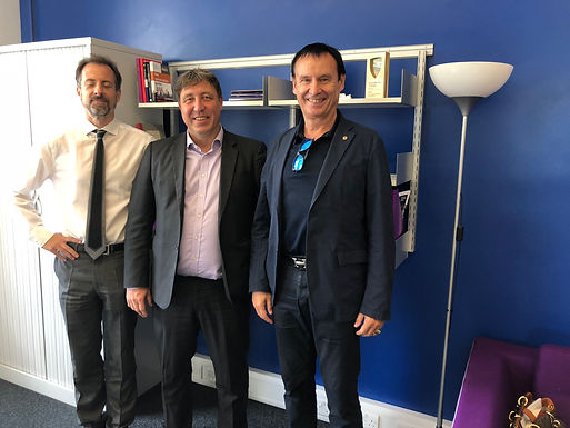 Dr. Trummer visits The City, University of London on Campus in London, July 2018