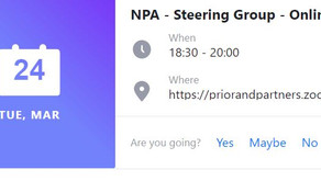 NPA Virtual Steering Group Meeting Tuesday 24th March 6.30pm