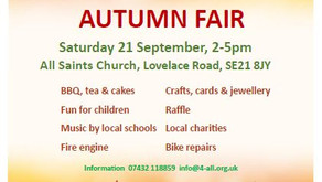 4ALL Community Autumn Fair Saturday 21st September, All Saints Church, Lovelace Road SE21 2-5pm