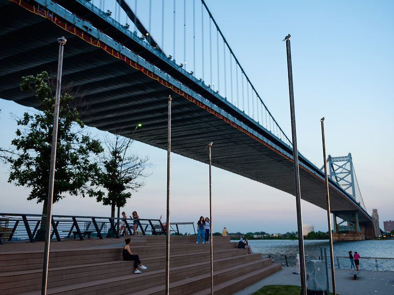 5 bronze poles with small bronze birds on top, with a bridge in the background as well as trees, bleachers and people