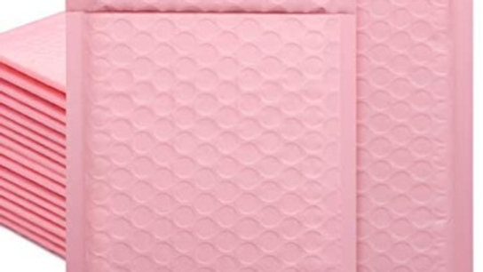 10 Light Pink Bubble Mailers (4x8)