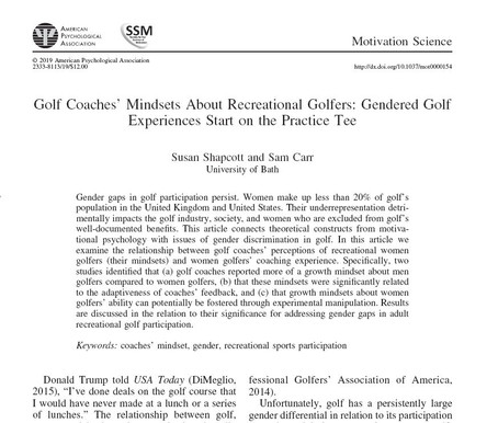 Coaches' Mindsets About Recreational Golfers: Gendered Golf Experiences Start on the Practice Tee