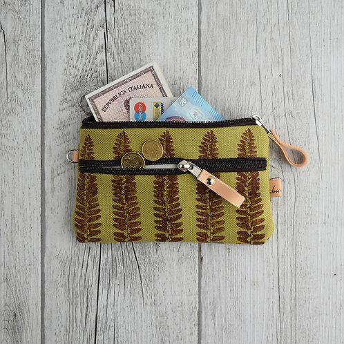FICUS il portafoglio a bustina in tessuto verde stampato a mano - FELCE