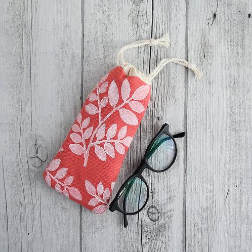 Camomilla - porta occhiali in tessuto corallo stampato a mano - FOLIAGE