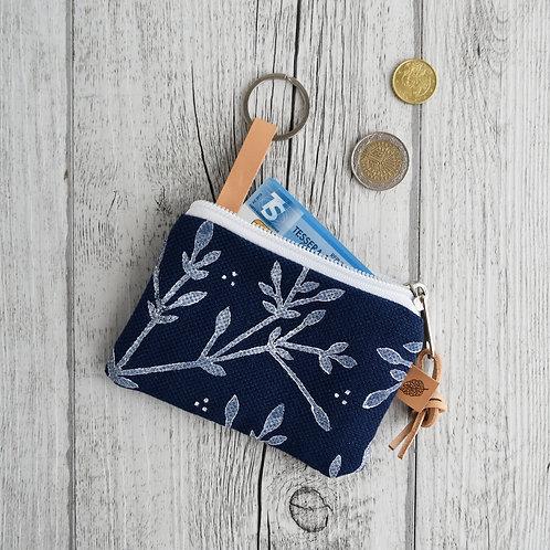 Pochette Mini Passiflora - in tessuto blu stampato a mano - BACCHE