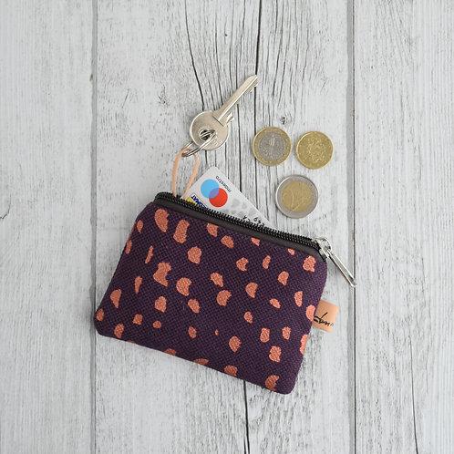Pochette Mini Passiflora - in tessuto viola stampato a mano - SASSOLINI RAME