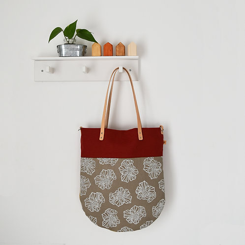 Ginestra shopper bag, borsa in tessuto stampato a mano - SAKURA