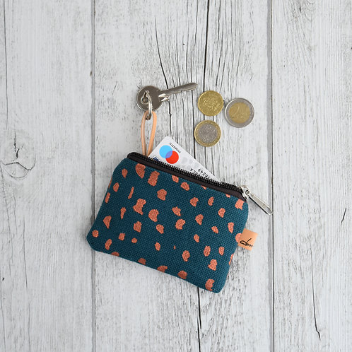 Pochette Mini Passiflora - in tessuto ottanio stampato a mano - SASSOLINI RAME