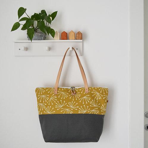 MELIA maxibag in doppio tessuto giallo e grigio stampata a mano - ANETO