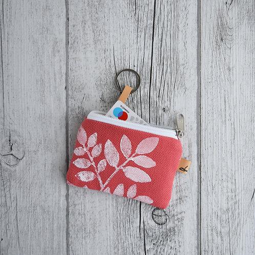 Pochette Mini Passiflora - in tessuto corallo stampato a mano - FOLIAGE