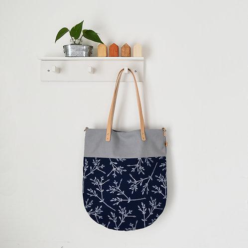 Ginestra shopper bag, borsa in tessuto stampato a mano - BACCHE