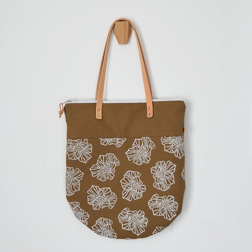 Ginestra shopper bag, borsa in tessuto color tabacco stampato a mano - SAKURA