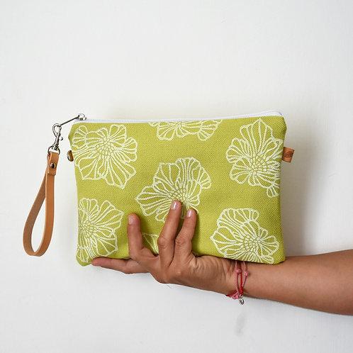 CHENZIA Pochette grande in tessuto verde Lime  stampato a mano - SAKURA
