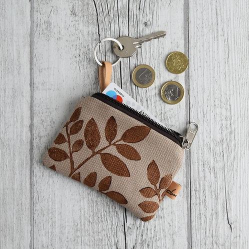Pochette Mini Passiflora - in tessuto corda stampato a mano - FOLIAGE