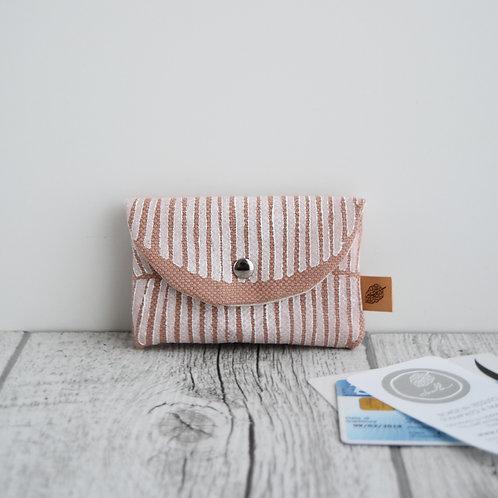 PILEA Porta carte in tessuto rosa antico stampato a mano - FOGLIA