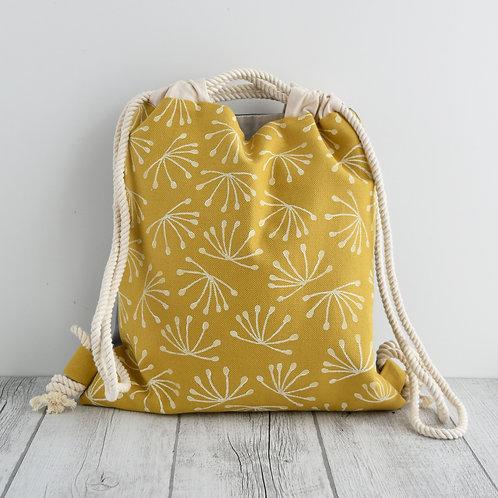 Zainetto a sacca Magnolia in tessuto giallo stampato a mano - ANETO