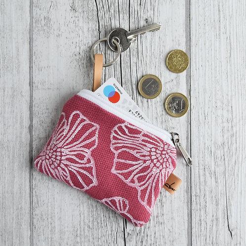 Pochette Mini Passiflora - in tessuto fucsia stampato a mano - SAKURA