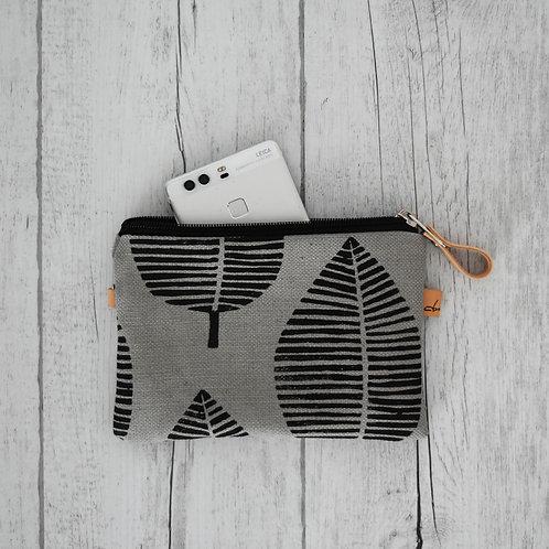 Pochette con stampa foglia su tessuto colore grigio -FOGLIA NERA