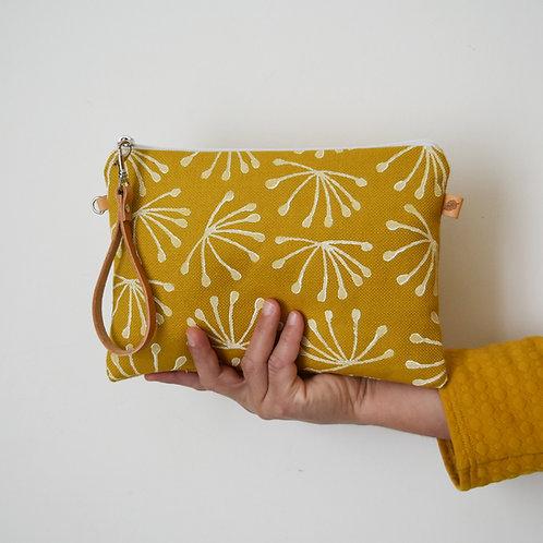 CHENZIA Pochette grande in tessuto giallo stampato a mano - ANETO