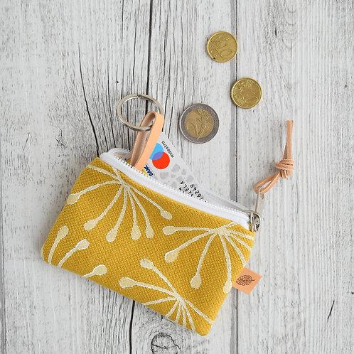 Pochette Mini Passiflora - in tessuto giallo stampato a mano - ANETO