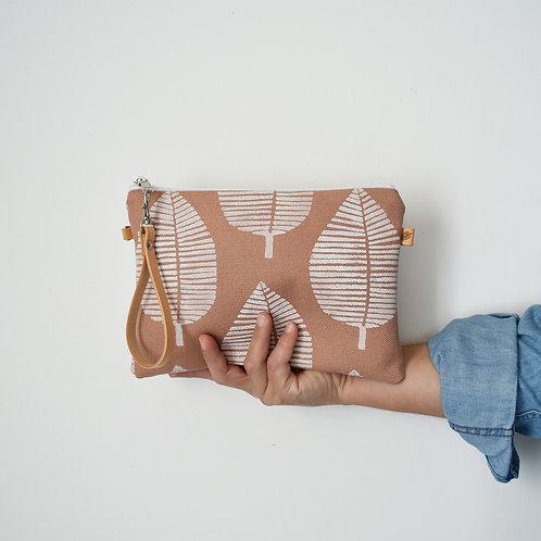 Chenzia Pochette grande in tessuto rosa antico stampato a mano - FOGLIA