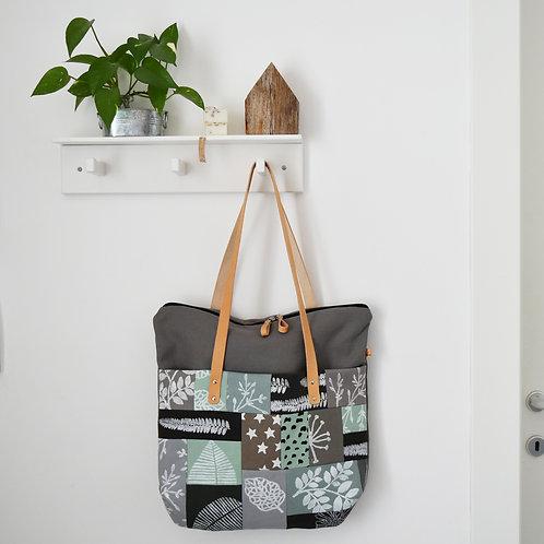 Betulla, Tote bag, in tessuto di recupero con tasca patchwork - NORDIC