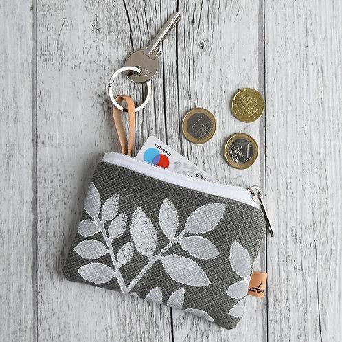 Pochette Mini Passiflora - in tessuto grigio stampato a mano - FOLIAGE