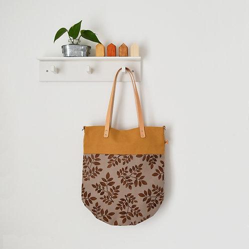 Ginestra shopper bag, borsa in tessuto stampato a mano - FOLIAGE